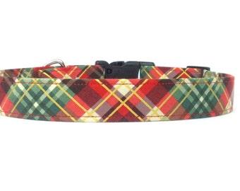 Red, Green, Gold Winter/Christmas Plaid/Tartan Dog Collar - XS S M L XL