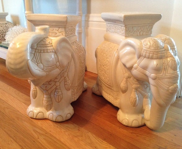 Vintage Elephant Garden Stool Side Table Chinoiserie Ceramic