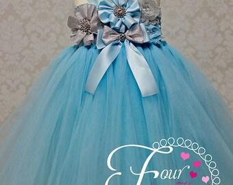 Blue Princess Dress, Blue and Silver Tutu Dress, Blue Flower Girl Dress, First Birthday Outfit, Blue Tutu Dress, Winter Onederland Dress