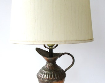 Vintage Table Lamp Mid Century  Modern - Pitcher Lamp - Copper and Wood -