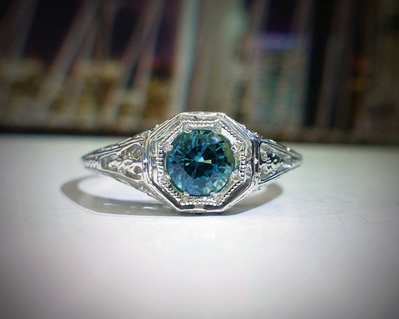 1/2 ct Ocean Blue Sapphire Engagement Ring in by DeLunaGems