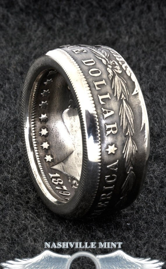 1878 Silver Morgan Dollar Coin Ring Sizes 9-23 Half Unique Gift Men's Large 3D Double Sided Coin Ring Wedding Band 12mm Wide 39th Birthday