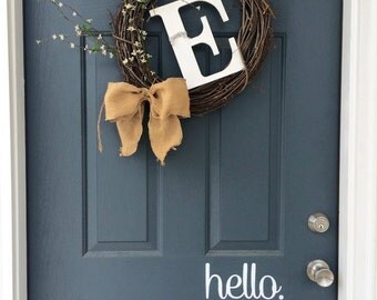 HELLO door decal // vinyl, sticker, welcome