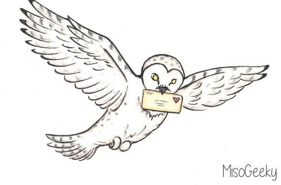 Amour Lettre Livraison Harry Potter Hedwige Dessin Par