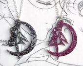 Pretty Sailor Moon silhouette glitter necklace in pink or black