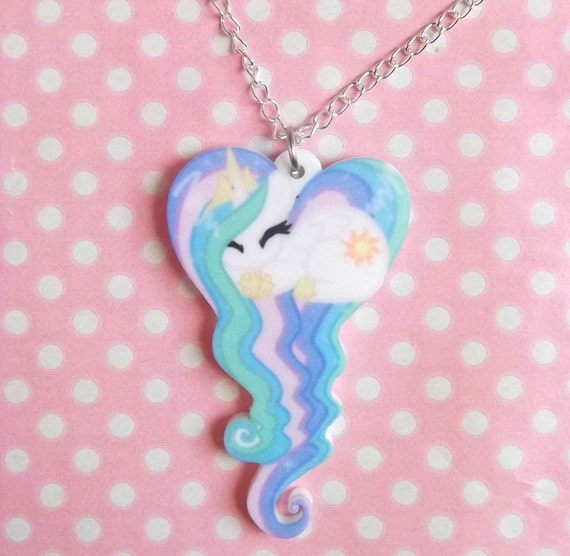 Cartoon pony sleeping heart necklace like this item mozeypictures Images