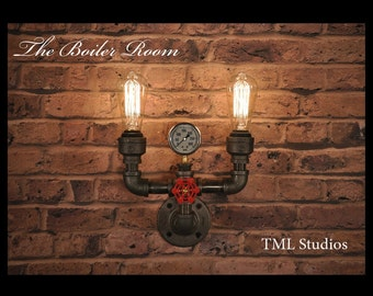 The Boiler Room - Industrial Modern Pipe Wall Sconce Edison Light Fixture