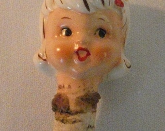 Vintage Ceramic Pretty Woman Lady Head Bottle Stopper - approx. 1950