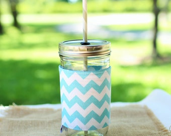 Personalized Chevron Mason Jar Tumbler, Aqua and White Monogram, Personalized Tumbler, Mason Jar Chevron