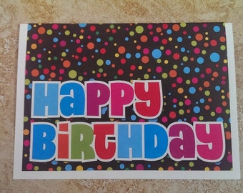 Handmade Happy Birthday Card Polka Dots