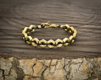 Brass Hex Nut Leather Cord Industrial Bracelet / Raw Brass