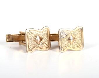 Vintage Metal Cufflinks / Mens Cufflink / Retro Cufflinks / Mens Deco Gold Cufflinks / Mens Gift / Gold Art Deco Cufflinks /Unique Cufflinks