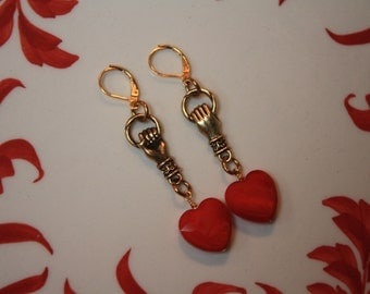 Hold on to Your Hearts Red Heart Earrings