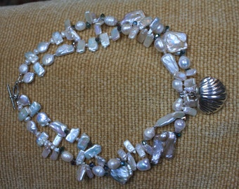 Sterling Silver Clam Shell and Freshwater Pearl Statement Necklace