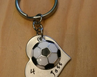 Hand Stamped Soccer Keychain Soccer Keychain - Soccer mom Keychain - Soccer Team Gift