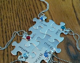 Hand Stamped Best Friends Puzzle Pieces Necklace - Family - Bridal Party - Sports Team Gifts - Personalized Necklaces - Bridesmaids Set of 6