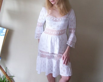 Lacy Dress Hand Knitted Cotton Women Ladies