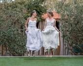 Romantic vintage lace wedding dress, boho chiffon open back wedding dress, bohemian Lace wedding dress, beach ivory dress, bridal gown