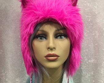 Fuchsia Fur Kitty Hat