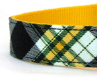 Plaid Dog Collar in Black and Yellow - Preppy Dog Collar - Black and Gold Collar