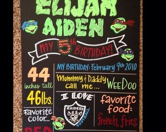 Turtles birthday board, favorite things photo prop
