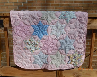 Pink Star Baby Quilt Handquilted