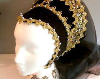 French Hood, Renaissance Hood, Anne Boleyn, Tudors, LARP