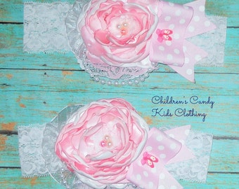 White Pink headband - Singed Flower -Easter Headband - Cake Smash Headband - Baby Girl Headband - Photo Prop - Couture headband