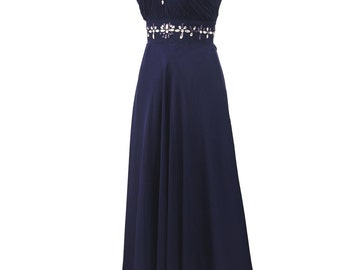 Qpid Showgirl Midnight Blue Chiffon Dress With Shoulder Cape Beaded Bridesmaid Prom Dress