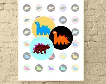 Dinosaur Hearts * 1 Inch Circle Digital Downloads * Dinosaurs with Hearts Collage Sheet Round *  Dinosaur Printable * Instant Download