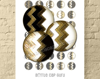 GEOMETRIC ZIGZAGS / Black White & Gold 1 Inch Circles Digital Collage Sheet for Jewelry, Crafts / Printable Round Images // Instant Download