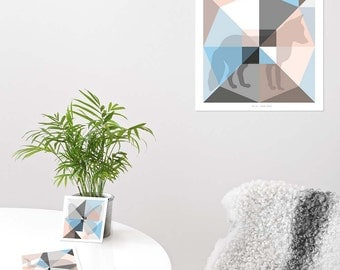 Origami Unfolded prints 'Blossom' set of 3  | printable wall art | digital pdf file | instant download