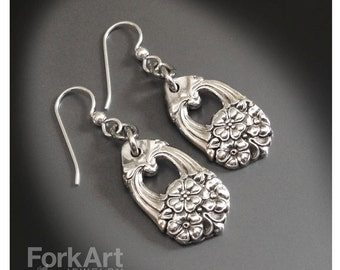 Antique silverware earrings with sterling silver earwire