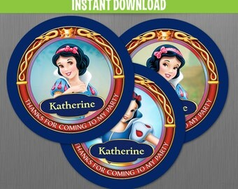 Disney Snow White Birthday Favor Tags - Instant Download file - Edit and Print with Adobe Reader