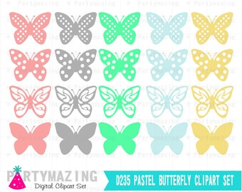 Butterfly ClipArt Set, Pastel, Butterfly Digital Clip Art Graphics, Instant Download D235