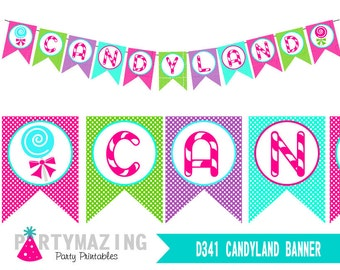 Candyland Banner, Printable Birthday Banner, Sweet Shoppe, Lollipop Party, party Decor Sign, Instant Download -D341 HBCL1