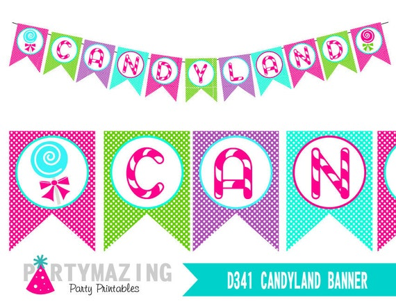 candyland banner printable birthday banner sweet shoppe lollipop party party decor sign instant download d341 hbcl1 - Candyland Pictures To Color