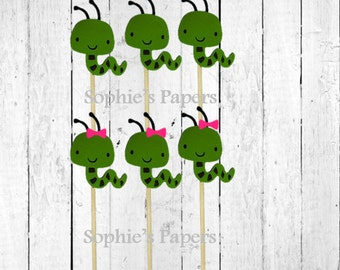 12 Worm Cupcake Toppers , Worm Party Theme, Worm Themed Baby Shower, Worm Birthday Party Theme