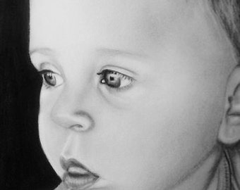 Custom Child Portraits 14x17 photo realistic style, hand drawn. Comes with a free print!