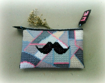 Made to order: Moustache Tiny Clutch embroidered by hand / OOAK purse / Trend of the season / Abstract embroidery / Best gift / Unisex