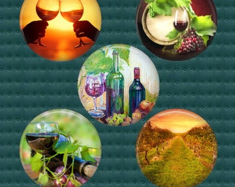 Wine Digital collage sheet, 25mm Square and 25 & 30mm round circle images Wine Lovers, Grapes, Vineyards 18 designs instant download