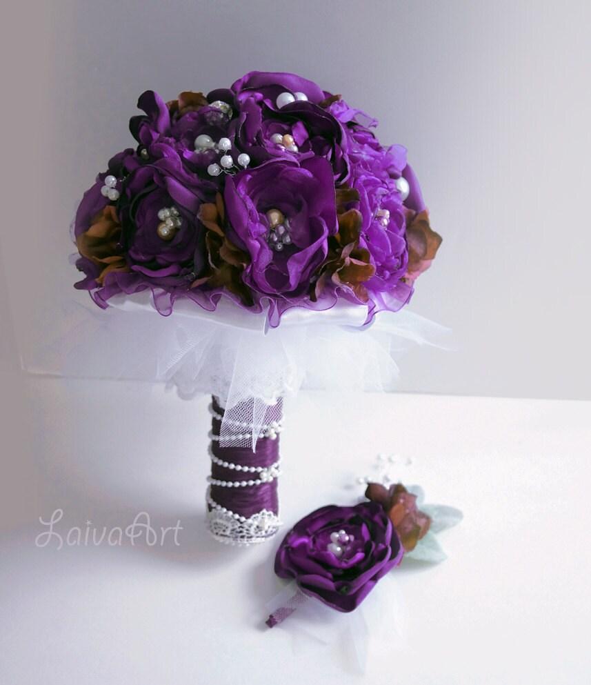 Wedding Eggplant Fabric Flower Bouquet Purple Violet