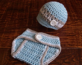 Crochet Baby Boy Hat and Diaper Cover Set, Photo Prop (0-3 Months)