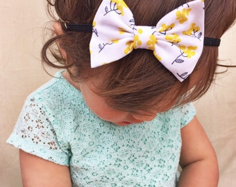 Yellow Stems baby bow