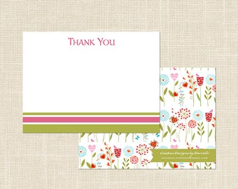 SPRING GARDEN Party Thank You Note, digital file or professional printing available