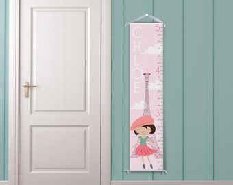 Paris in Pink Personalized Children's Growth Chart