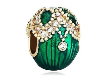 Faberge Egg Bead, Green Charm, Large Hole Bead, European Bead, Charm Bead, Add a Bead, Charm Bracelet, European Charm, Big Hole Bead