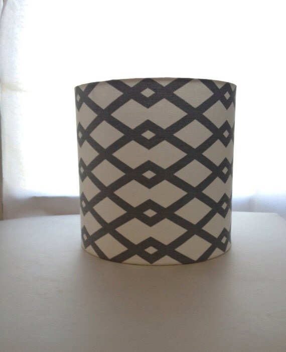 lamp shade grey and white small drum lampshade by. Black Bedroom Furniture Sets. Home Design Ideas