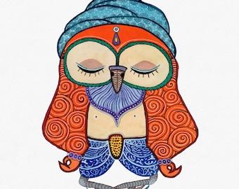 Yogi Sage Owl, Watercolor Art Print, 8x10 inches