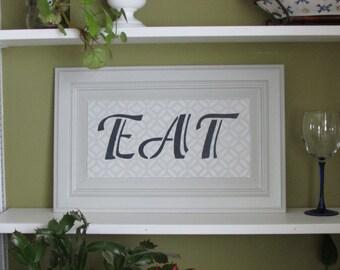 EAT Sign 19X12 Kitchen Signsgray Decor Dining Room Decormodern